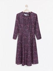 Mønstret kjole med lange ermer Blå