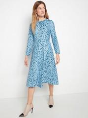 Pitkähihainen kuviollinen mekko Sininen