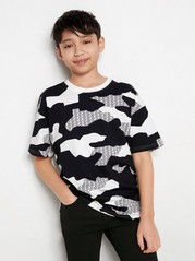 Mönstrad kortärmad t-shirt Svart