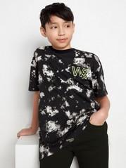 Kortärmad t-shirt med mönster och neontryck Svart