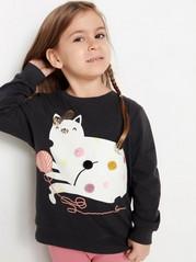 Svart sweatshirt med katt-tryck och pom-poms Svart
