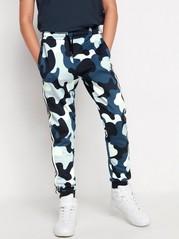 Blåmönstrade sweatpants med revär Blå