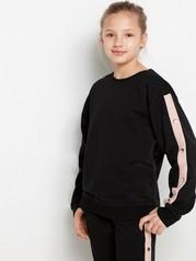Svart sweatshirt med rosa revär och metallknappar Svart