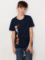 Marinblå t-shirt med fotbollstryck Blå