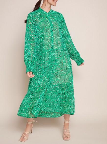 Mönstrad grön maxiklänning Grön
