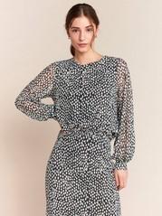 Pitkähihainen kuvioitu pusero mesh-kangasta Musta