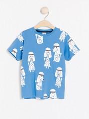 Oversize blå t-shirt med pudelmönster Blå