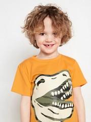 Orange kortärmad t-shirt med dinosaurietryck Orange