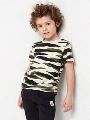 Mönstrad kortärmad t-shirt Beige