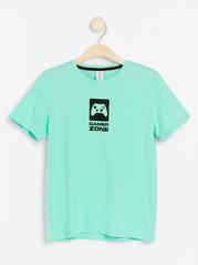 Lyhythihainen t-paita, jossa painatus Turkoosi