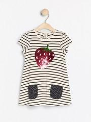Randig tunika med jordgubbe i vändbara paljetter Blå