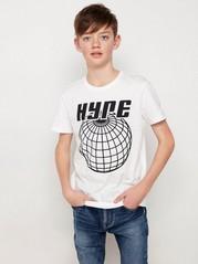 Vit kortärmad t-shirt med svart tryck Vit