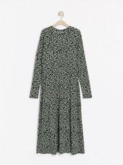 Mønstret, langermet kjole Grønn