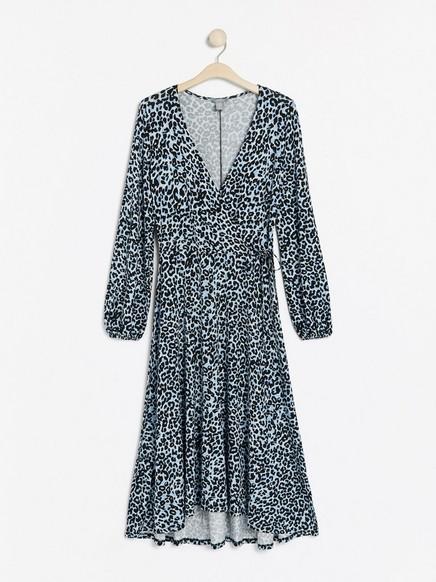 Lång klänning med omlottöverdel Blå