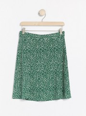 Mönstrad kort kjol Grön