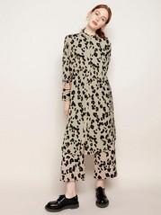 Leopardmønstret, langermet kjole Brun