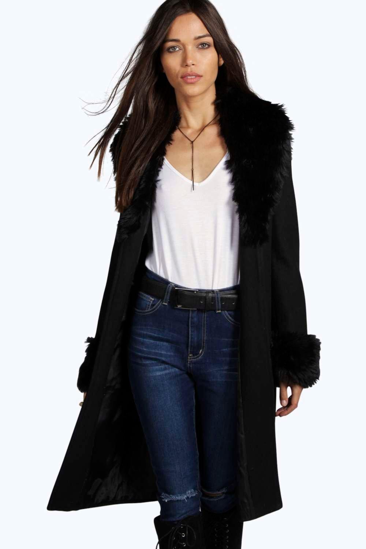 a1e2f32771126 Shoptagr | Anee Faux Fur Cuff + Collar Coat by Boohoo