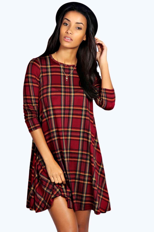 e4b7f6e644598 Shoptagr | Laura Tartan Swing Dress by Boohoo