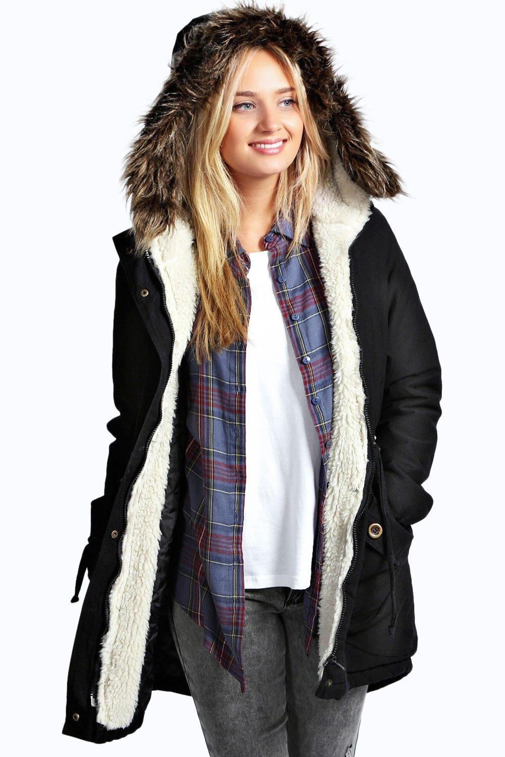 Black Parka Coat With Fur Hood Coat Nj