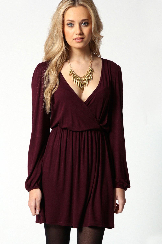 adriana jersey long sleeve wrap dress at. Black Bedroom Furniture Sets. Home Design Ideas