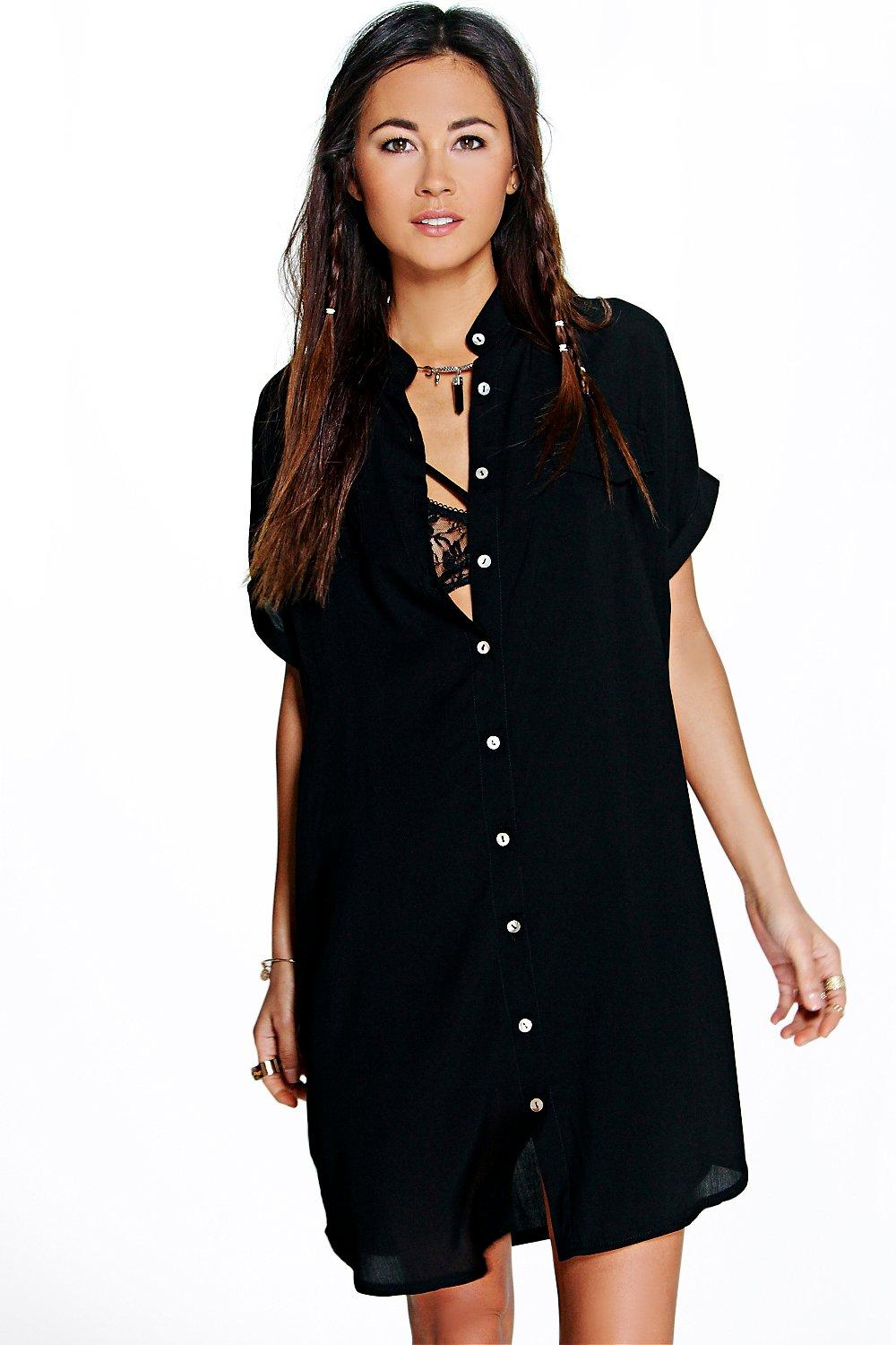 Maeve Pocket Detail Sleeveless Shirt Dress at boohoo.com