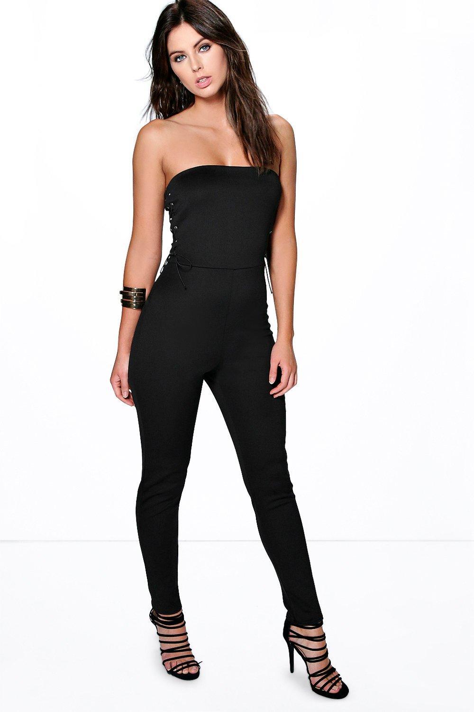 9c8ab8248cf Bandeau Lace Up Side Skinny Leg Jumpsuit black