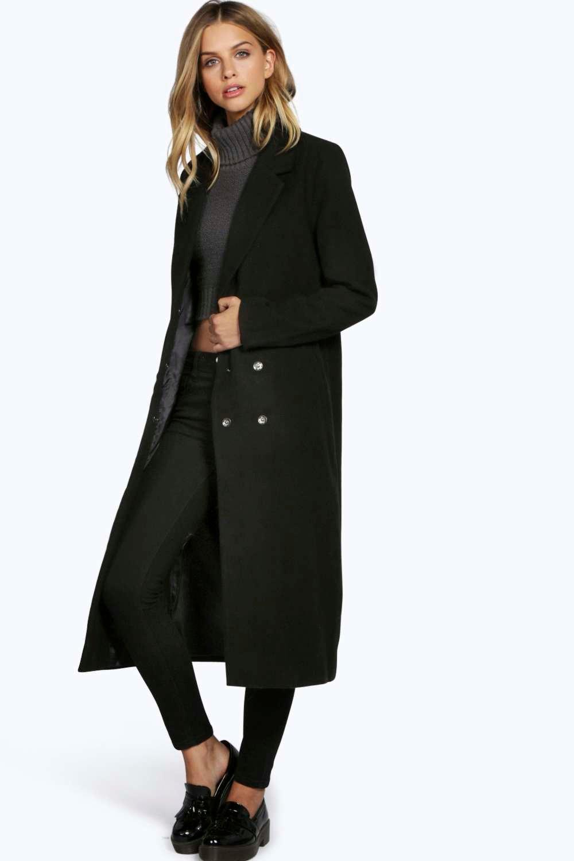 Ruth Black Longline Coat at boohoo.com