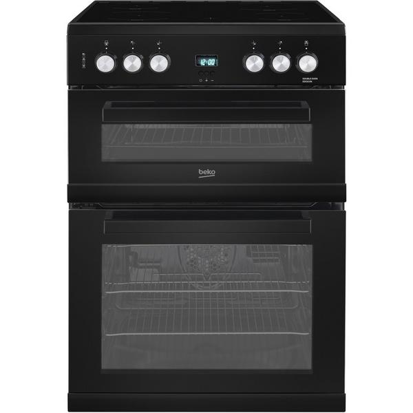 Beko EDC633K 60cm Double Oven Electric Cooker with Ceramic Hob - Black