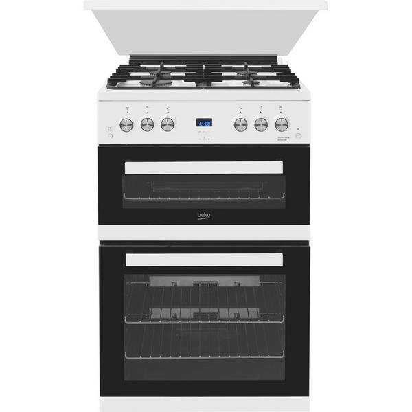 Beko EDG6L33W 60cm Double Oven Gas Cooker with Glass Lid - White