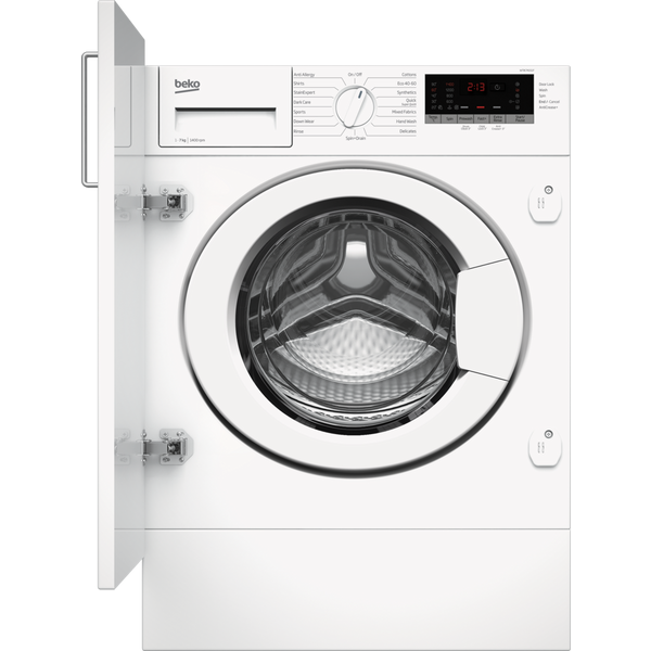 Beko WTIK74151F 7kg 1400 Spin Integrated Washing Machine with Fast+ Function - White