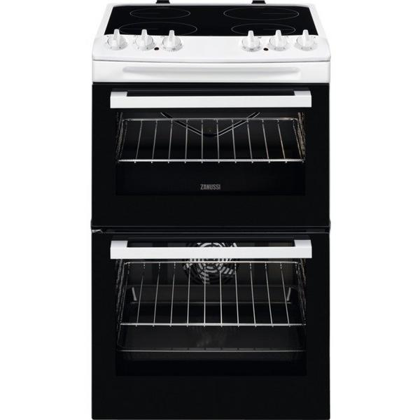 Zanussi ZCV46050WA 55cm Electric Double Oven with Ceramic Hob - White - A/A Rated