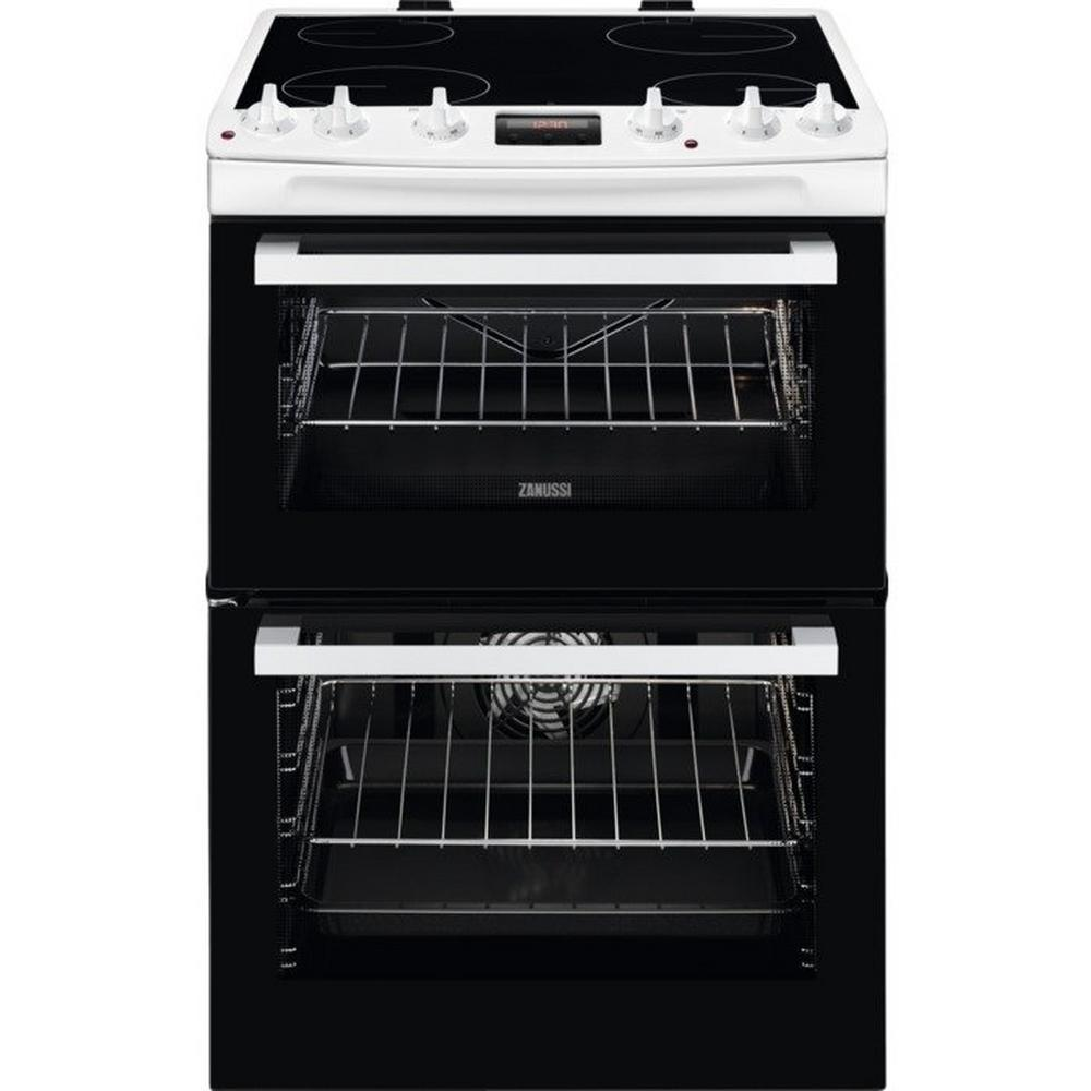 Zanussi Zcv66078wa 60cm Electric Double Oven With Ceramic Hob Wiring Zones Kitchen White A Rated Cookers Freestanding Cooking Catalogue