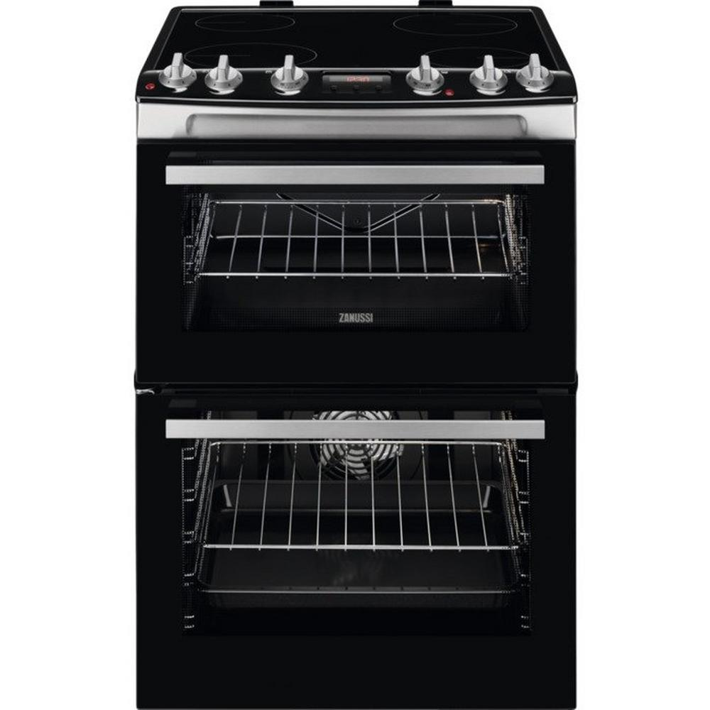 Zanussi Zcv66078xa 60cm Electric Double Oven With Ceramic Hob Wiring Zones Kitchen Stainless Steel A Rated Cookers Freestanding Cooking