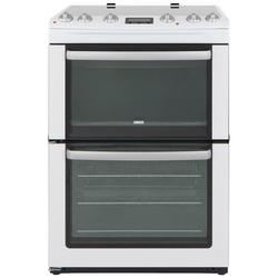 Zanussi ZCV667MWC 60cm Electric Double Oven with Ceramic Hob - White - A/A Rated