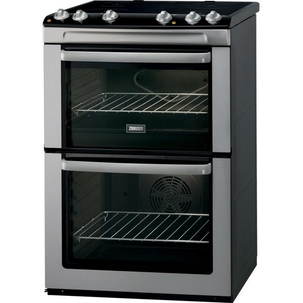 Zanussi ZCV668MX 60cm Electric Double Oven with Ceramic Hob - Stainless Steel - A/A Rated