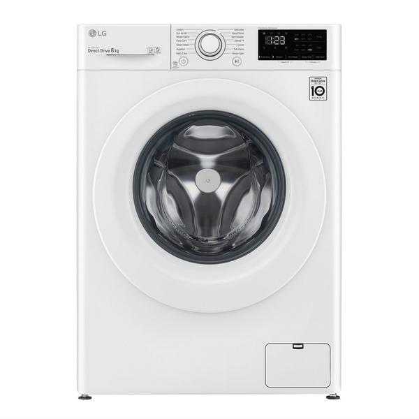 LG F4V308WNW 8kg 1400 Spin Washing Machine with 6 Motion Direct Drive - White