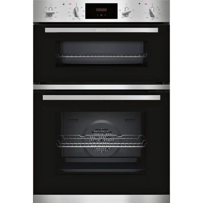 Neff U1GCC0AN0B 59.4cm Built In Electric Double Oven - Black & Steel