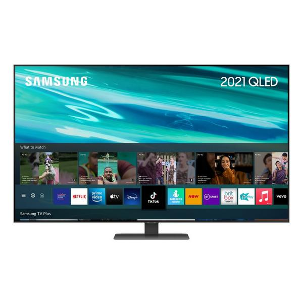 """Samsung QE75Q80AATXXU 75"""" 4K QLED Smart TV Quantum HDR 1500 powered by HDR10+ with Object Tracking Sound and Direct Full Array"""