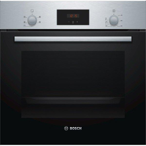 Bosch HHF113BR0B 59.4cm Serie 2 Built In Electric Single Oven with 3D Hot Air - Stainless Steel