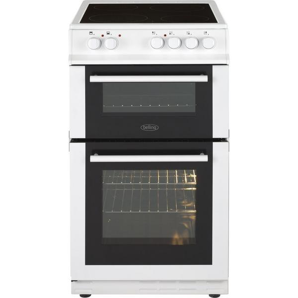 Belling FS50EDOFCWHI 50cm Electric Double Oven with Ceramic Hob - White - A/B Rated