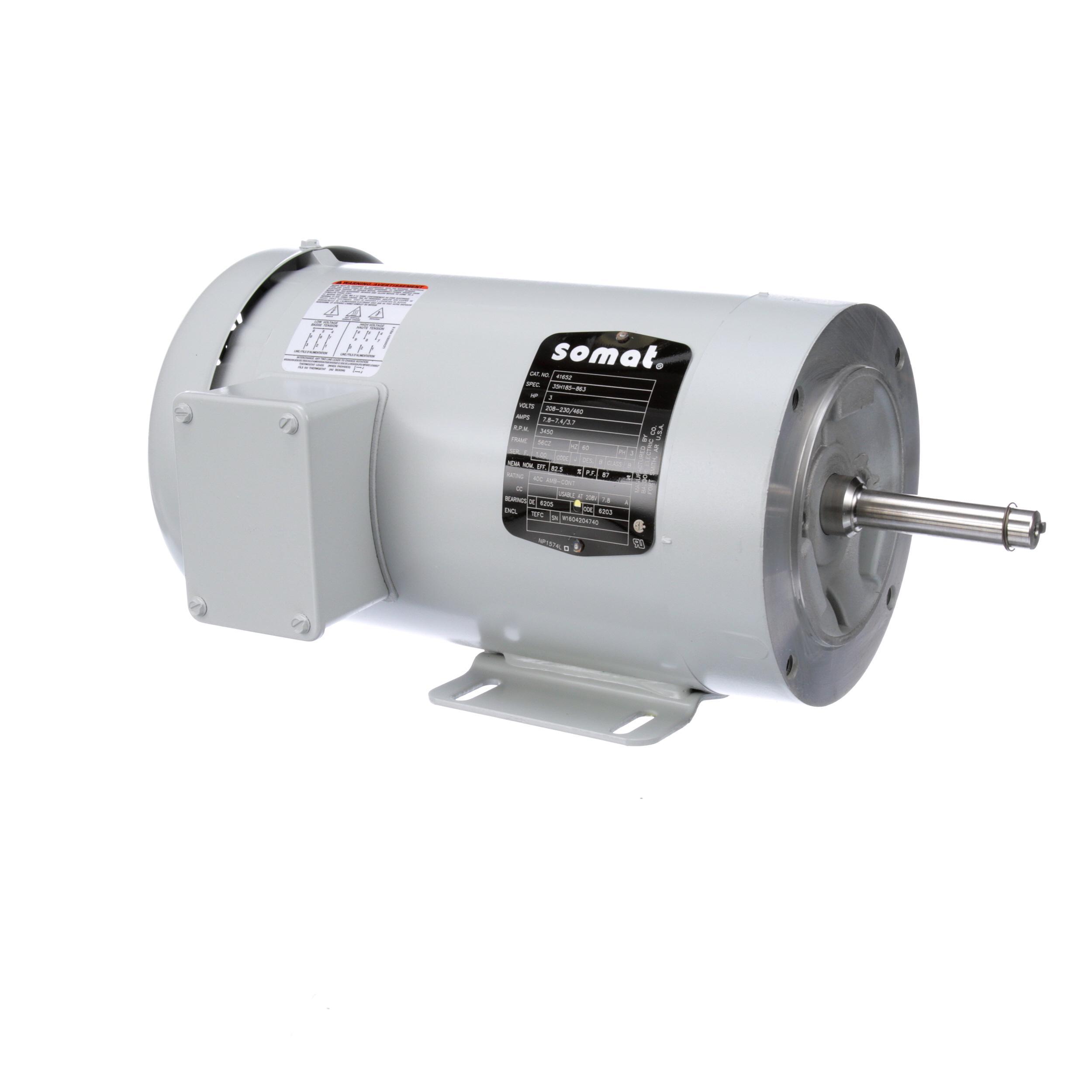 Somat Motor 3hp 3ph 208 230 460v 50 60 Part 41652
