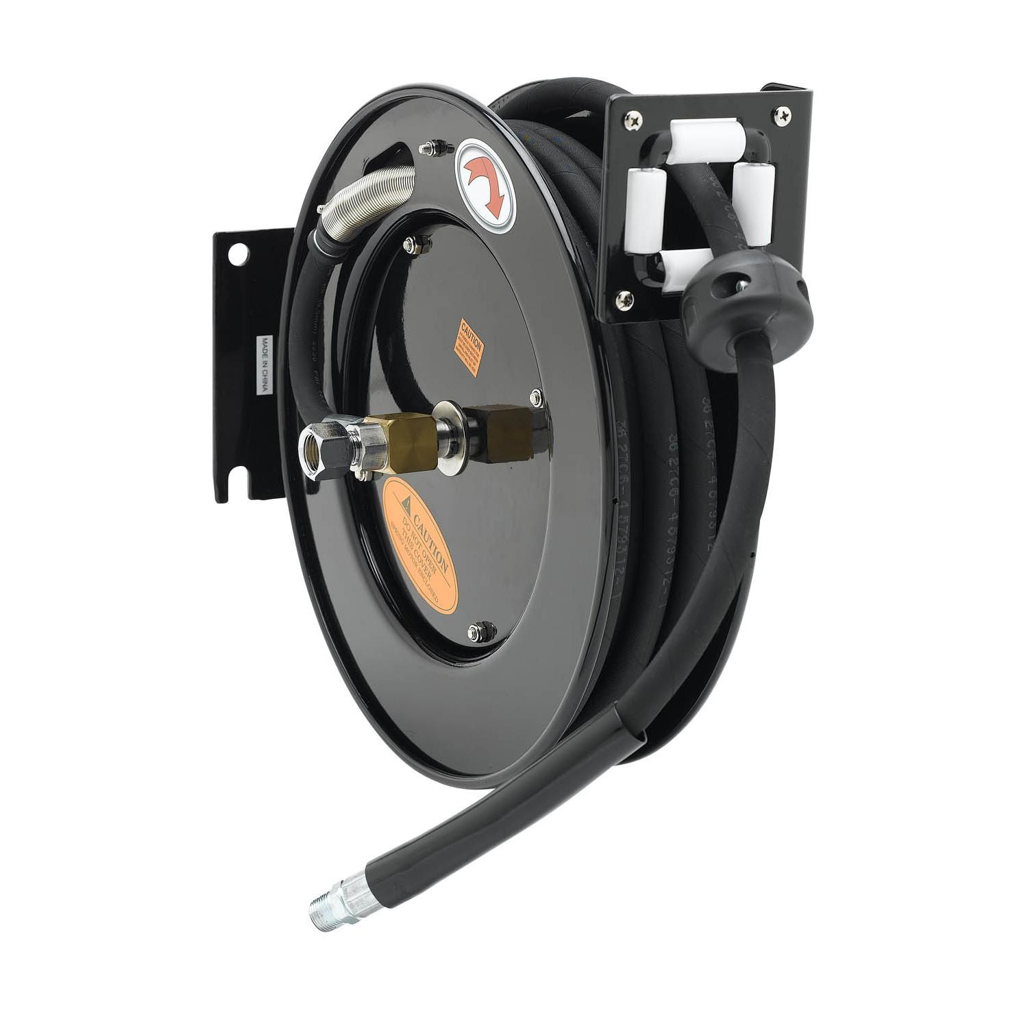 "T&S BRASS HOSE REEL, OPEN, EPOXY COATED STEEL, 3/8"" ID X 50^ HOSE & REDUCING ADAPTER"