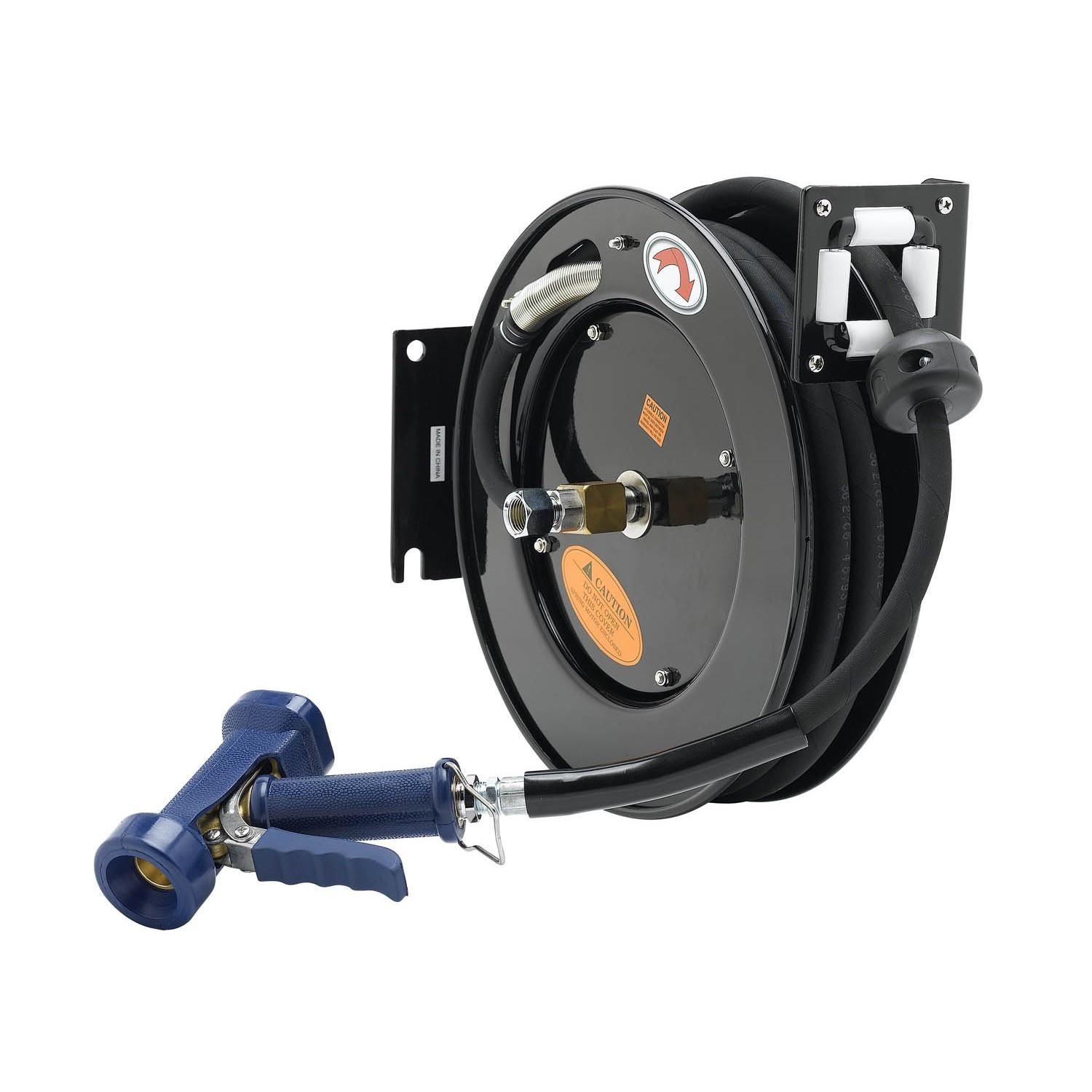 "T&S BRASS HOSE REEL, OPEN, POWDER COATED STEEL, 3/8"" X 50^ ID HOSE, FRONT TRIGGER WATER GUN, ADAPTER"