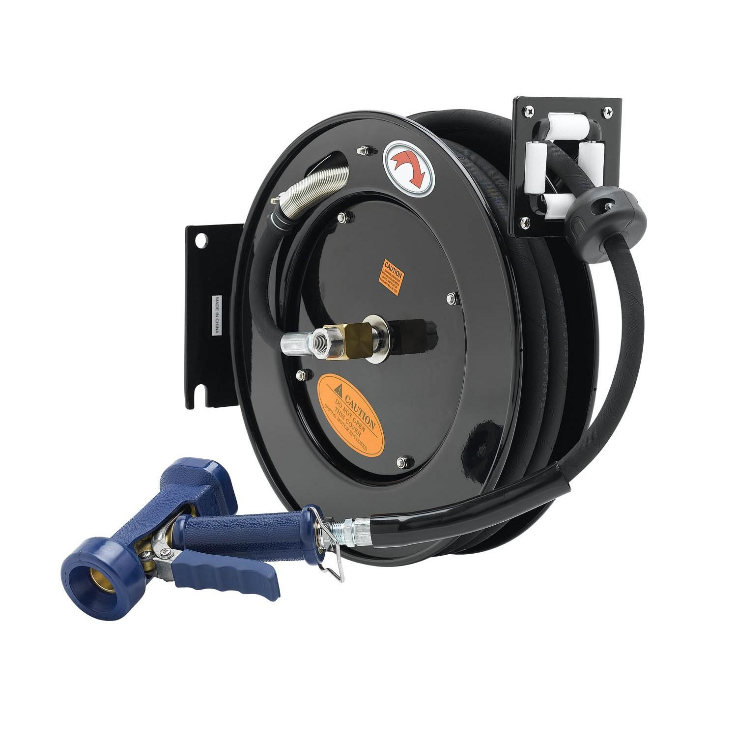 "T&S BRASS HOSE REEL, OPEN, POWDER COATED STEEL, 3/8"" X 50^ ID HOSE, FRONT TRIGGER WATER GUN (BRASS)"