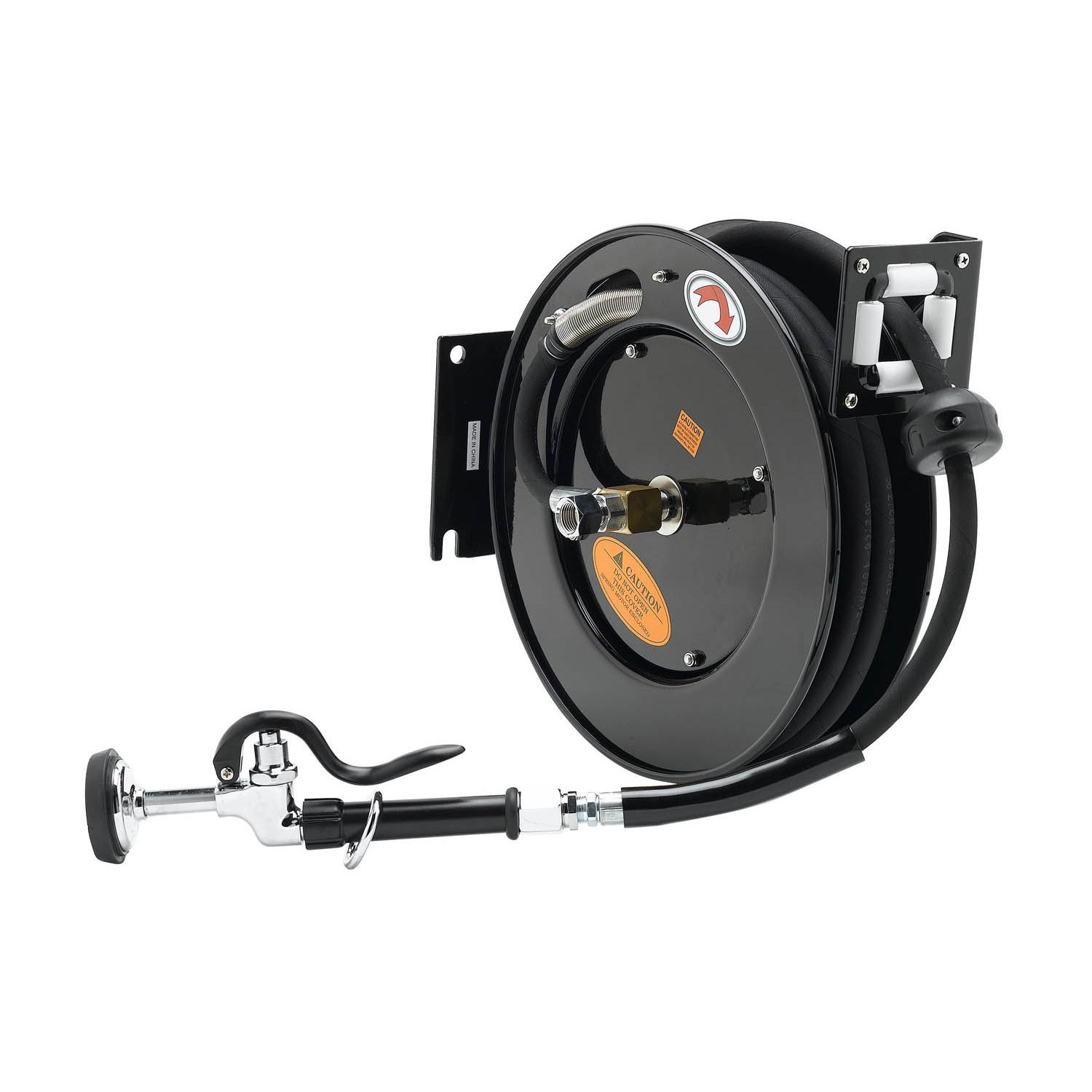 "T&S BRASS HOSE REEL, OPEN, POWDER COATED STEEL, 50^ X 3/8"" ID HOSE W/ SPRAY VALVE & REDUCING ADAPTER"