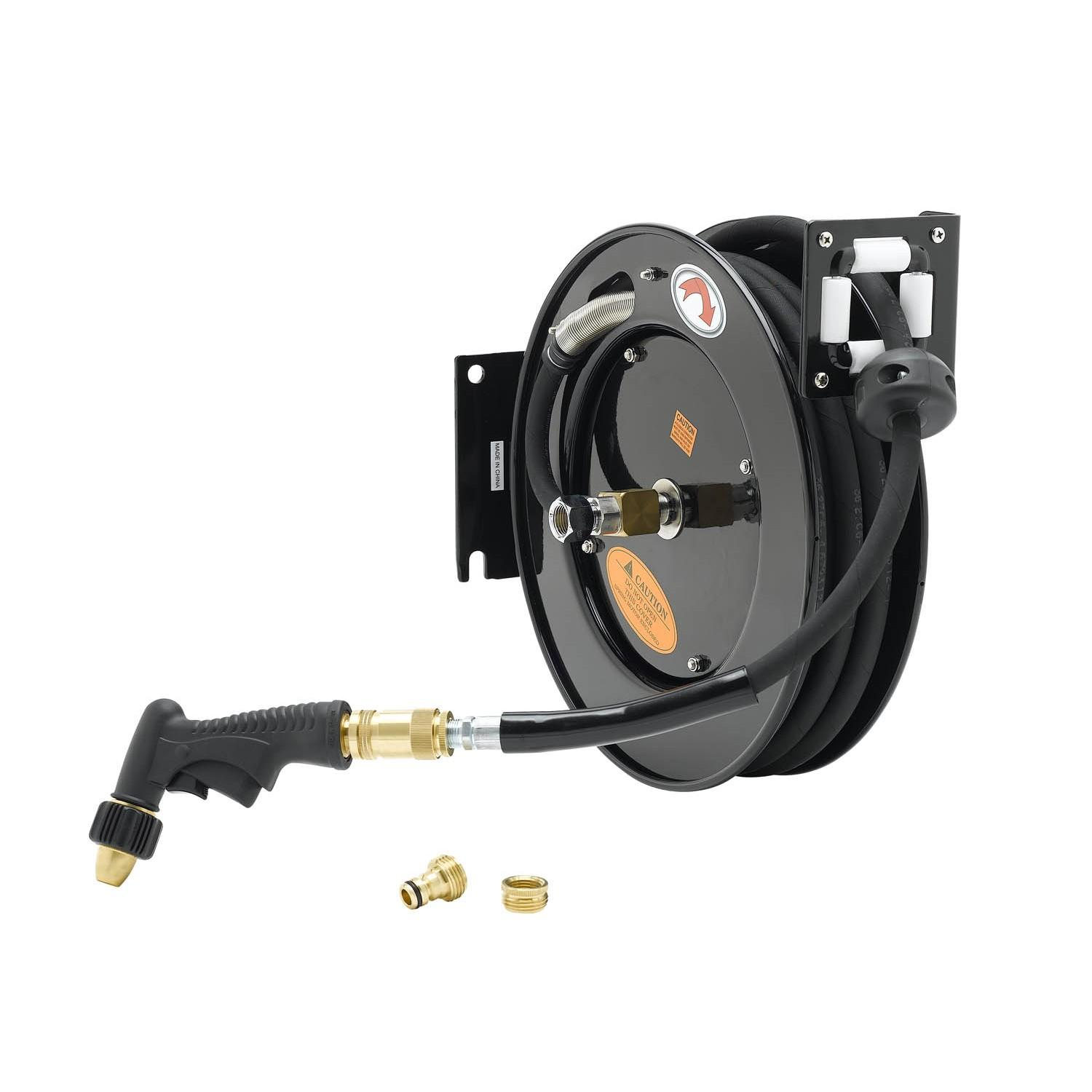 "T&S BRASS HOSE REEL, OPEN, POWDER COATED STEEL, 35^ OF 3/8"" DIA. HOSE W/ WATER GUN, REDUCING ADAPTER"
