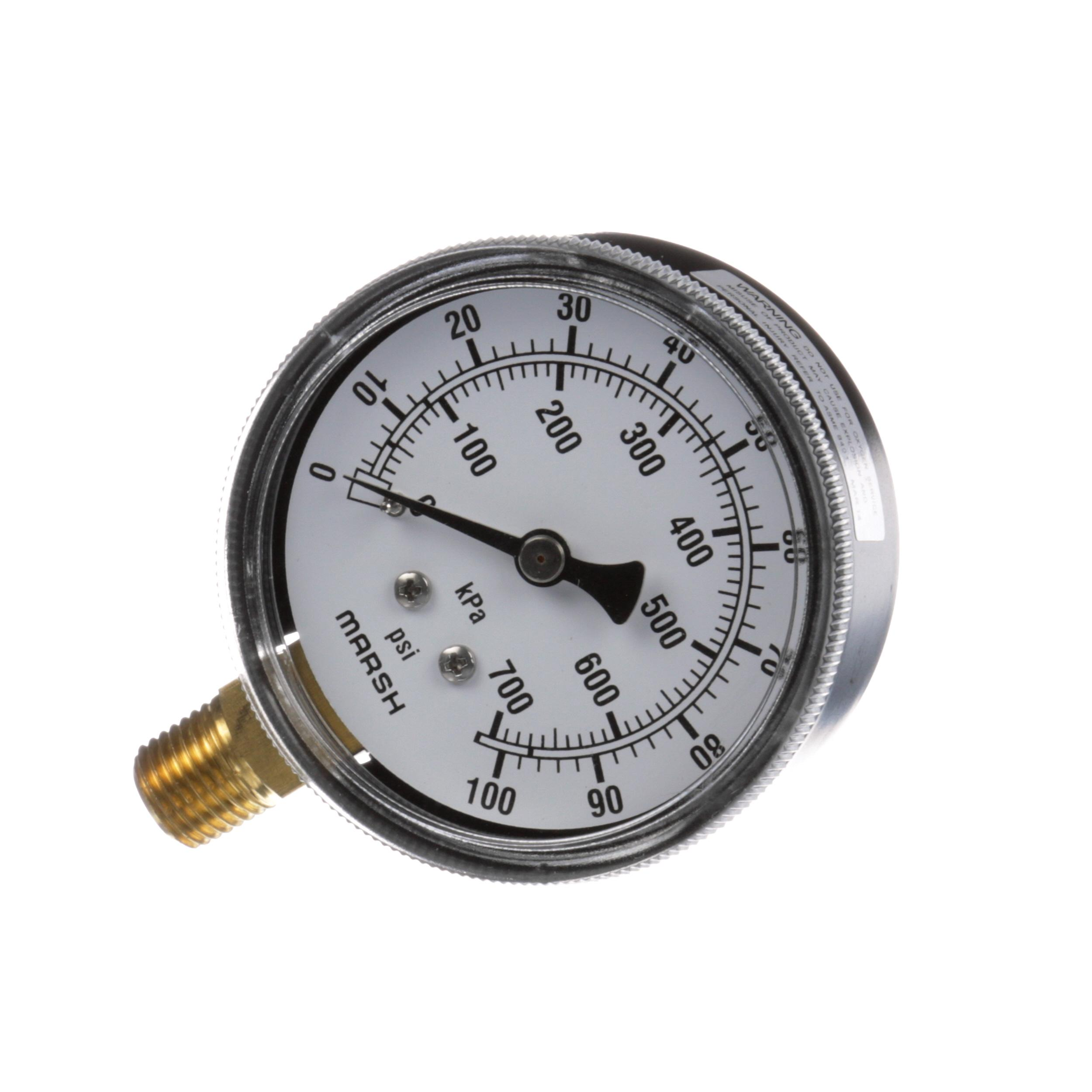 CLEVELAND GAUGE;BOT MOUNT;0-100PSI 2-1/2INX1/4IN;B