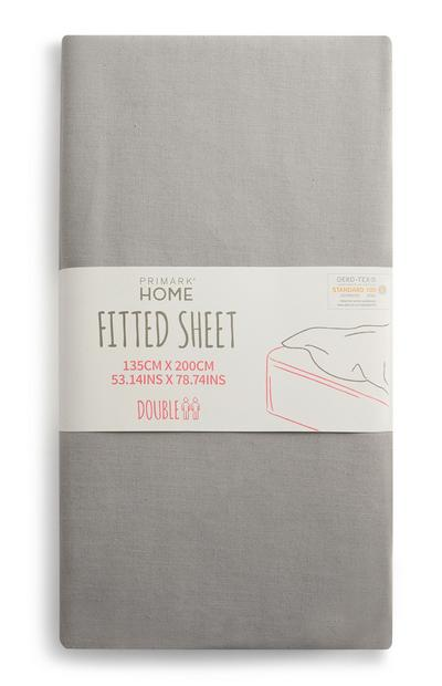 Grey Double Fitted Sheet