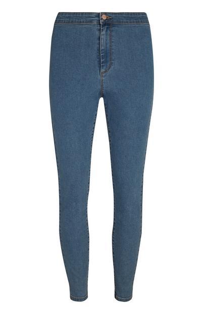 Mittelblaue Skinny Jeans mit extrahohem Bund