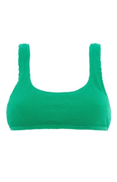 Green Crinkle Bikini Top